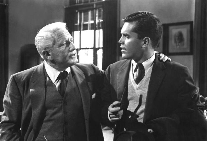LAST HURRAH, Spencer Tracy, Jeffrey Hunter, 1958, hand on shoulder